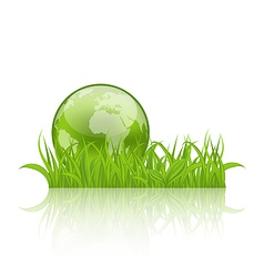 Green concept ecology background grass and earth vector image