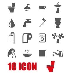 Grey bathroom icon set vector