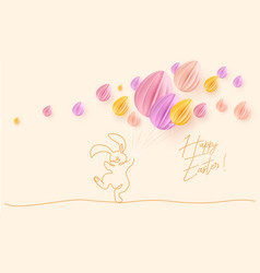 Happy easter cute rabbit with air balloons vector
