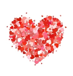 Heart made up of little pink and red hearts on vector image
