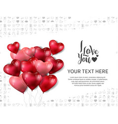 I love you with heart shape balloon on white vector