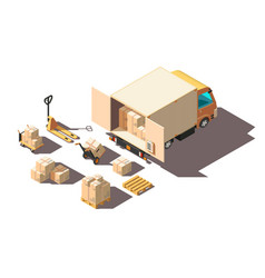 isometric 3d light shipment truck with forklift vector image