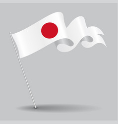 japanese pin wavy flag vector image