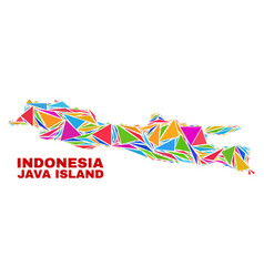Java island map - mosaic of color triangles vector