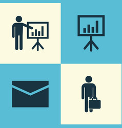 job icons set collection of envelope vector image