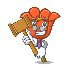 Judge poppy flower mascot cartoon vector