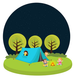 Kids children camping tent outdoor fun activity vector