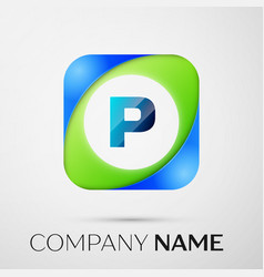 letter p logo symbol in the colorful square vector image