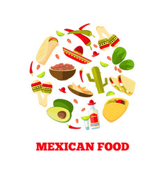 Mexican cuisine cartoon vegetables food and vector