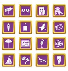 Miami icons set purple vector