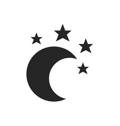 Moon and stars flat objects isolated on a white vector