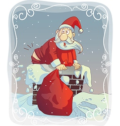 Overweight Santa Stuck in the Chimney vector image