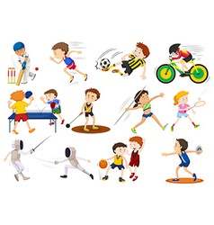 People doing different kinds of sports vector