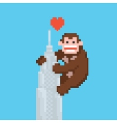 Pixel art style gorilla on a skyscraper vector image