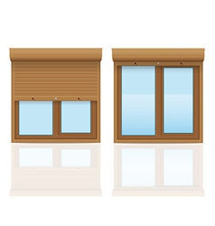 plastic window with rolling shutters 09 vector image