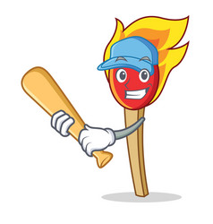 Playing baseball match stick character cartoon vector