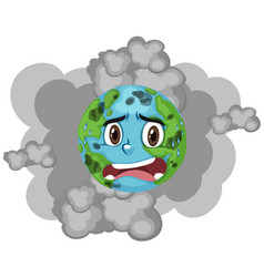 Pollution on earth with smoke in background vector