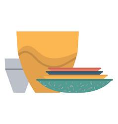 Pottery and bowls plates and mug kitchenware vector