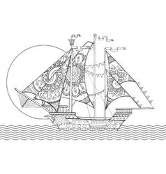 Sailing ship drawing coloring book vector image