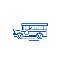 school bus line icon concept school bus flat vector image