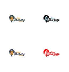 Scooter city night logo design vector