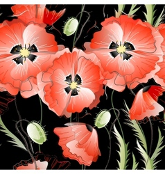 Seamless Background with Red Poppy Flowers vector image