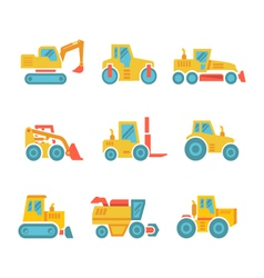 Set modern flat icons of tractors farm machines vector image