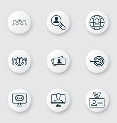 Set of 9 business management icons includes open vector