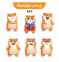 Set of cute hamster characters set 2 vector