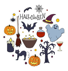 set of hand drawn elements for halloween party on vector image