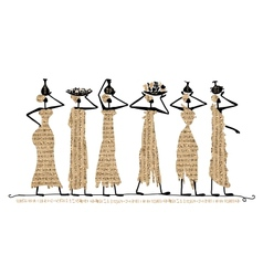 Sketch of egypt women with jugs for your design vector image