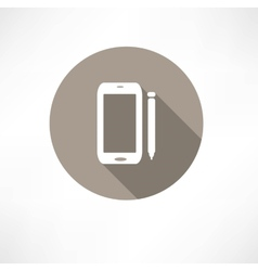 Smartphone with a stylus icon vector