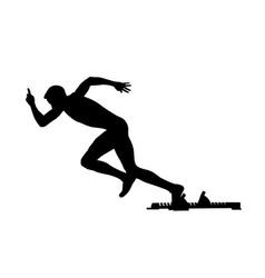 Start athlete runner starting blocks vector