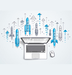 startup rockets take off over laptop space vector image