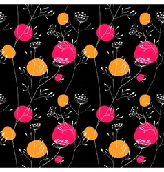 Sunset meadow seamless pattern vector image