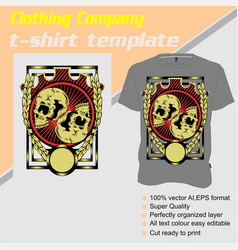 T-shirt template fully editable with double skull vector