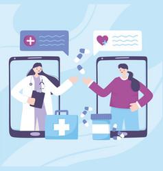 Telemedicine smartphone doctor and patient vector