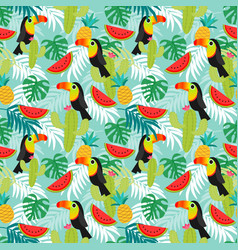 toucan birdstropical leafs and exotic fruit vector image