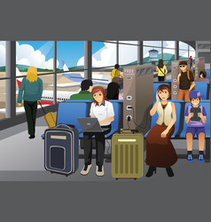 travelers charging their electronic devices in an vector image