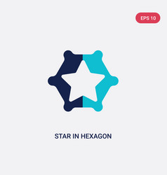 two color star in hexagon small triangles icon vector image