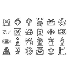 Vip icons set outline style vector