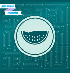 watermelon icon on a green background with arrows vector image