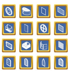 Window forms icons set blue square vector