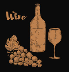 wine bottle and grape in engraving style design vector image