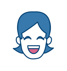 woman smiling with eyes closed vector image