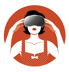 woman wearing virtual reality glasses-05 vector image