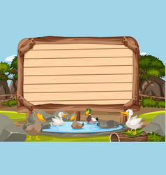 Wooden sign template with many ducks swimming in vector