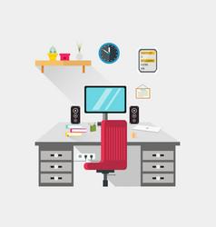 Workspace pc setup flat design vector
