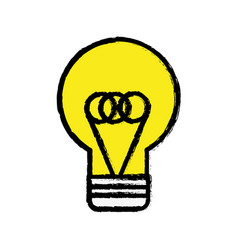 Yellow flat bulb idea and creative icon vector