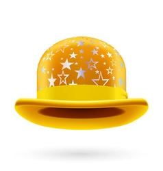 Yellow starred bowler hat vector image